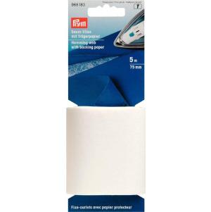Prym Saumvlies mit Trägerpapier zum Einbügeln 75mm