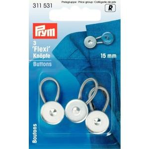 Prym Flexi-Knöpfe mit Schlaufe 15 mm 3er Pack