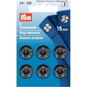 Prym Annäh-Druckknöpfe MS 15 mm schwarz 6 Stück