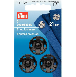 Prym Annäh-Druckknöpfe MS 21 mm schwarz 3 Stück