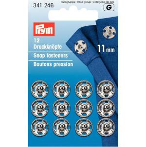 Prym Annäh-Druckknöpfe MS 11 mm silberfarbig 12 Stück