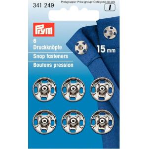 Prym Annäh-Druckknöpfe MS 15 mm silberfarbig 6 Stück
