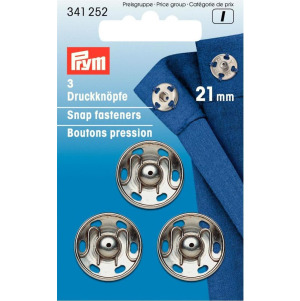 Prym Annäh-Druckknöpfe MS 21 mm silberfarbig 3 Stück