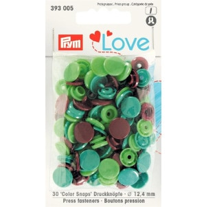 Prym Love Druckknopf Color KST 12,4mm grün/hellgrün/braun