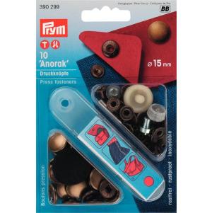 Prym NF-Druckknopf Anorak MS 15 mm altmessingfarbig 10 Stück
