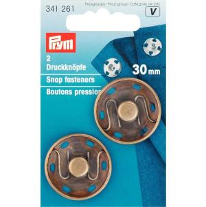 Prym Annäh-Druckknöpfe MS 30 mm altmessingfarbig 2 Stück