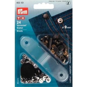 Prym Nieten MS 9 mm silberfarbig/alteisen 24 Stück