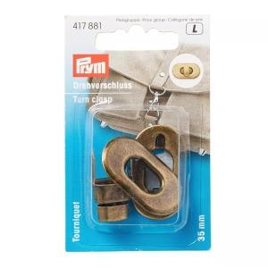 Prym Drehverschluss für Taschen 35 x 20 mm altmessing