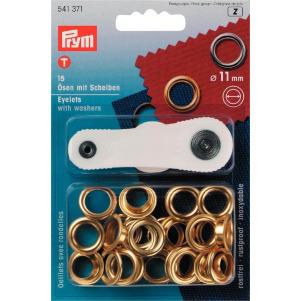 Prym Ösen und Scheiben MS 11,0 mm goldfarbig 15 Stück