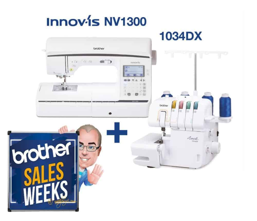 Brother SALES WEEKS: BROTHER Innov-is NV1300 Nähmaschine inklusive BROTHER 1034DX Overlock